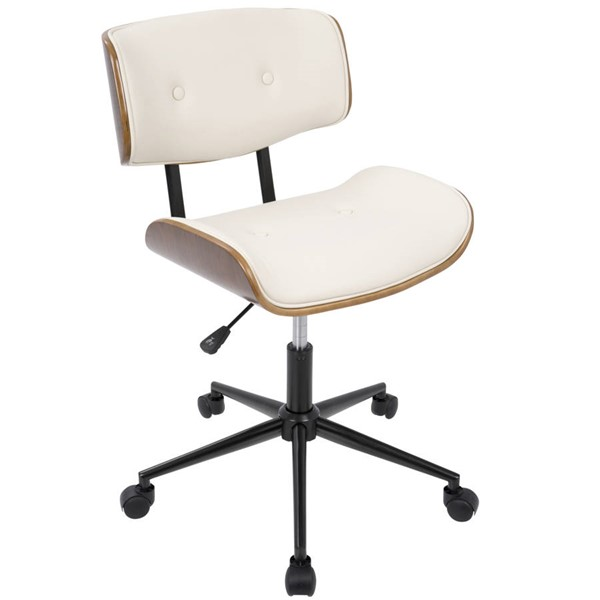 Lumisource Lombardi Walnut Cream Office Chair LUMI-OC-JY-LMB-WL-CR