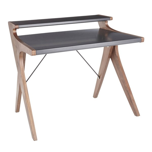 Lumisource Archer Grey Walnut Wood Office Desk LUMI-OFD-ARCHER-WLGY