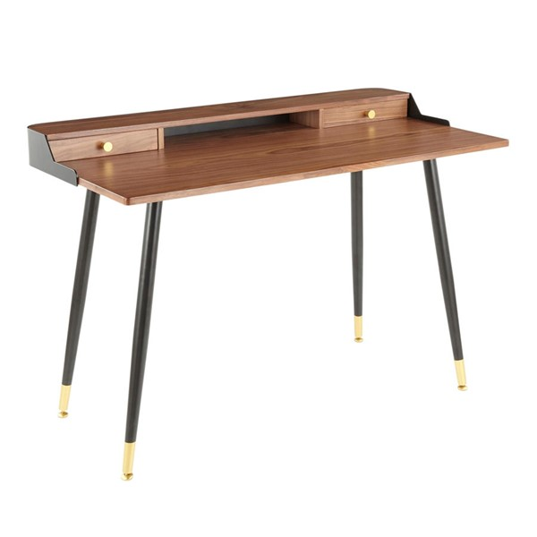 LumiSource Harvey Black Walnut Harvey Desk LUMI-OFD-HRVY-BK-WL