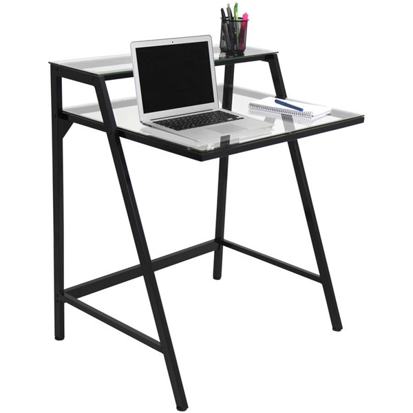 Lumisource Black Clear 2-Tier Desk LUMI-OFD-TM-2TIER-CL