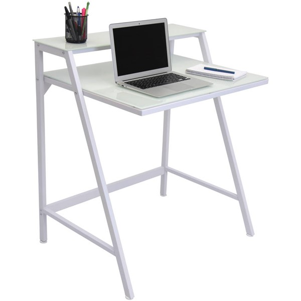 Lumisource White Clear 2-Tier Desk LUMI-OFD-TM-2TIER-W