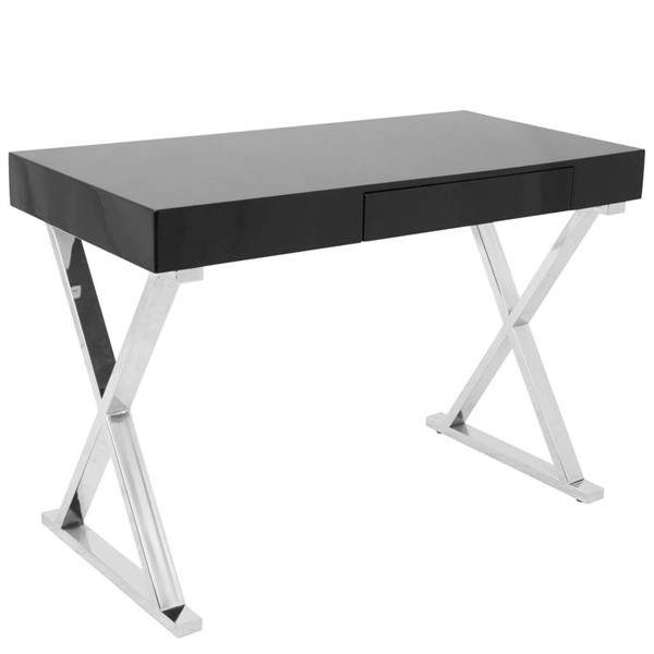 Lumisource Luster Black Office Desk LUMI-OFD-TM-LSTR-BK