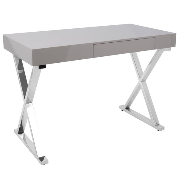 Lumisource Luster Grey Office Desk LUMI-OFD-TM-LSTR-GY