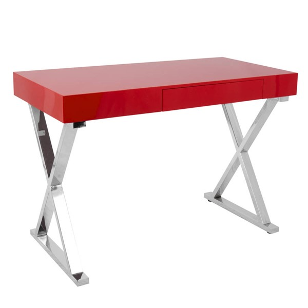 Lumisource Luster Red Office Desk LUMI-OFD-TM-LSTR-R