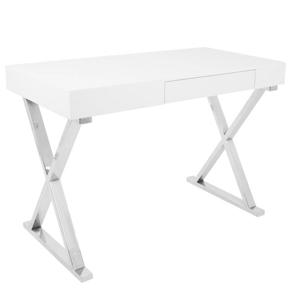 Lumisource Luster White Office Desk LUMI-OFD-TM-LSTR-W