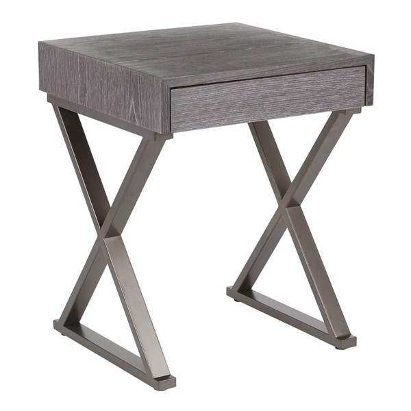 Lumisource Luster Antique Dark Grey End Table LUMI-TB-INDLUST-ANDGY