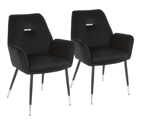 2 Lumisource Wendy Black Velvet Chairs LUMI-CH-WENDY-BKBK2