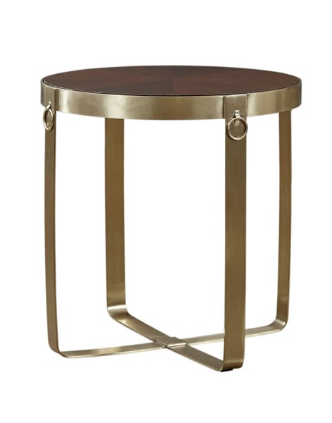 Lazzaro Gold Round End Table LZRO-1620-40