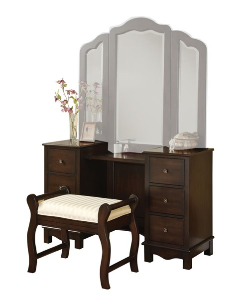 Acme Furniture Annapolis Brown Vanity and Stool ACM-06552