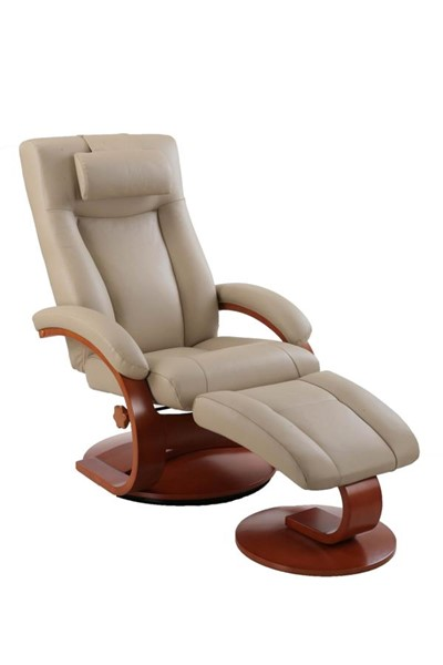 Mac Motion Relax-R Hamilton Tan Leather Recliner and Ottoman Set with Pillow MAC-HAMILTON054032PL