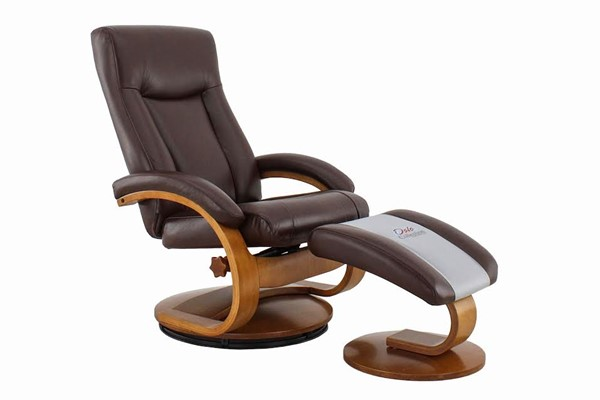 Mac Motion Relax-R Hamilton Whisky Brown Air Leather Recliner and Ottoman Set MAC-HAMILTON054099