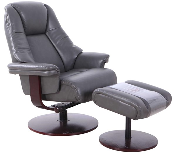Mac Motion Relax-R Lindley Charcoal Grey Air Leather Recliner and Ottoman Set MAC-LINDLEY780515