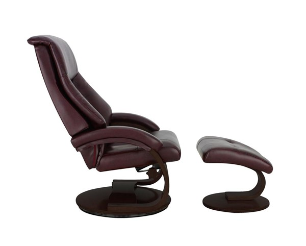 Mac Motion Relax-R Montreal Merlot Burgundy Leather Recliner and Ottoman Set with Pillow MAC-MONTREAL058009PL