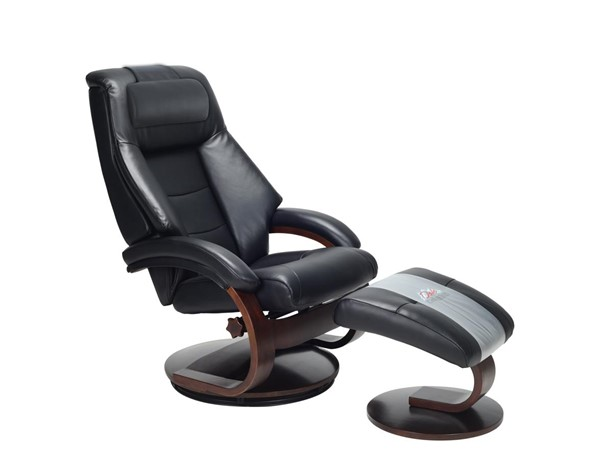 Mac Motion Relax-R Montreal Black Leather Recliner and Ottoman Set with Pillow MAC-MONTREAL058010PL