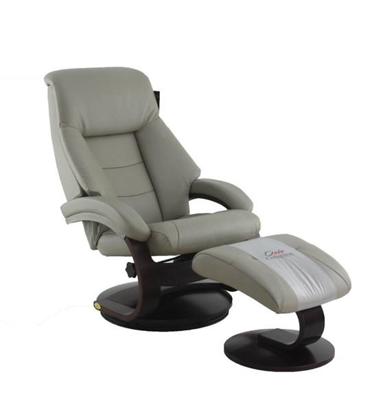 Mac Motion Relax-R Montreal Putty Grey Leather Recliner and Ottoman Set MAC-MONTREAL058042