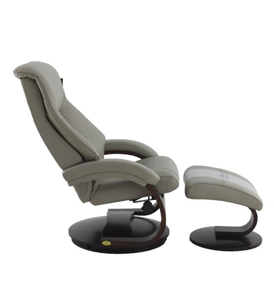 Mac Motion Relax-R Montreal Putty Grey Leather Recliner and Ottoman Set with Pillow MAC-MONTREAL058042PL