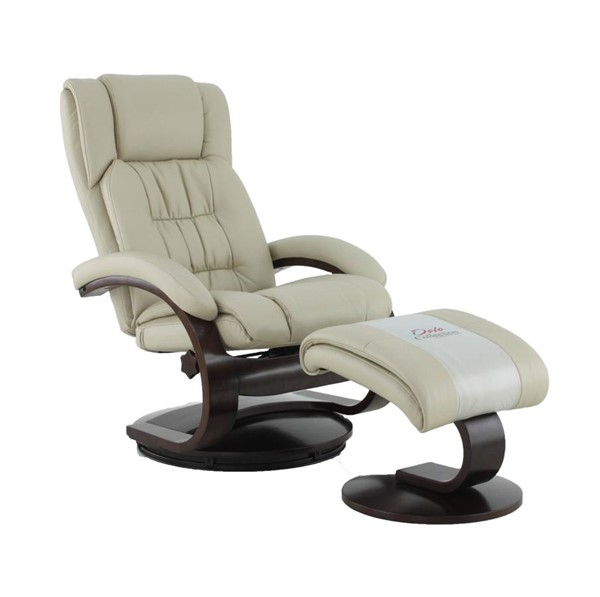 Mac Motion Relax-R Norfolk Beige Tan Air Leather Recliner and Ottoman Set MAC-NORFOLK051097
