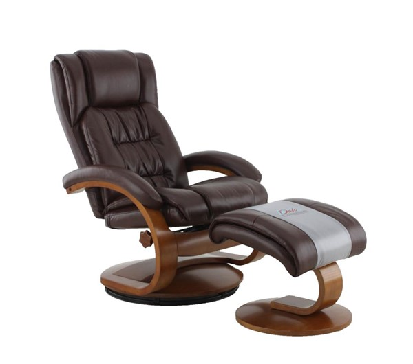 Mac Motion Relax-R Norfolk Whisky Brown Air Leather Recliner and Ottoman Set MAC-NORFOLK051099