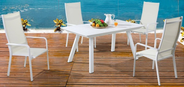 Chintaly Imports Malibu 5pc Outdoor Extension Dining Set with High Back Chairs CHF-MALIBU-EXT-HB-5PC