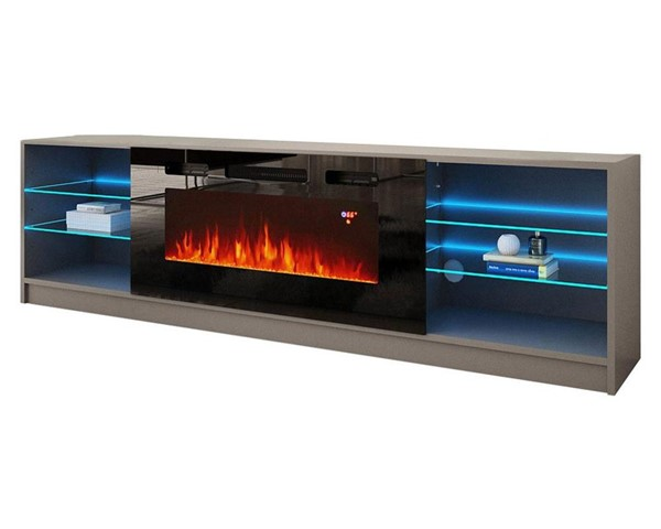 Meble Furniture Boston 01 Gray Electric Fireplace 79 Inch TV Stand MBL-BOSTON01GRAY