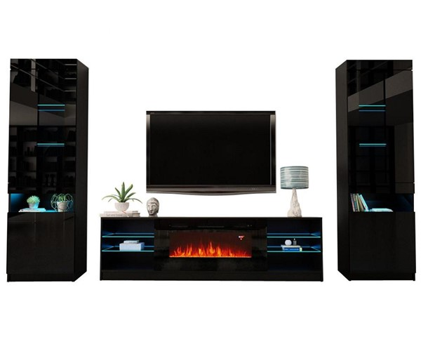 Meble Furniture Boston 01 Black Electric Fireplace Wall Unit Entertainment Centers MBL-BOSTON01SET-ENT-S-VAR