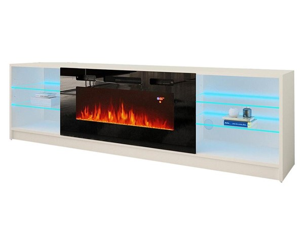 Meble Furniture Boston 01 White Electric Fireplace 79 Inch TV Stand MBL-BOSTON01WHITE