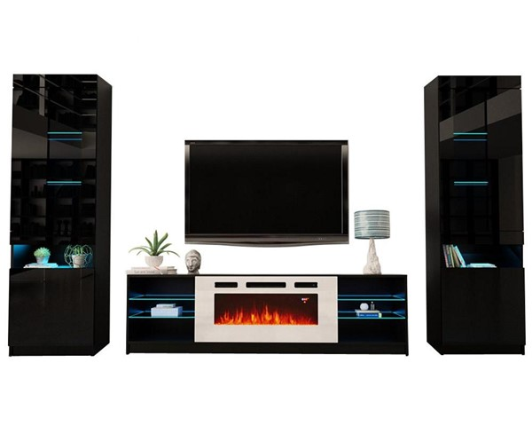 Meble Furniture Boston WH01 Black Electric Fireplace Wall Unit Entertainment Centers MBL-BOSTONWH01SET-ENT-S-VAR