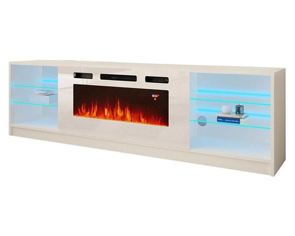 Meble Furniture Boston WH01 White Electric Fireplace 79 Inch TV Stand MBL-BOSTONWH01WHITE