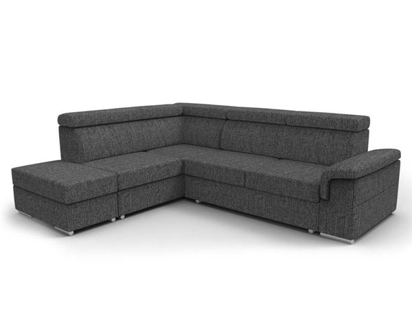 Meble Furniture Conor Charcoal Black Futon Left Arm Facing Sectional Sofa Bed with Pouf Ottoman MBL-CONOR-LAF-BLACK
