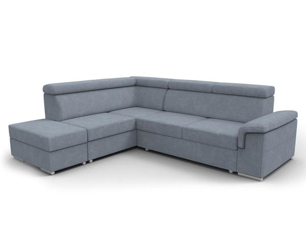 Meble Furniture Conor Slate Blue Futon Left Arm Facing Sectional Sofa Bed with Pouf Ottoman MBL-CONOR-LAF-BLUE