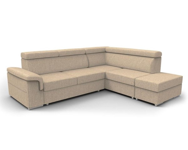 Meble Furniture Conor Beige Futon Right Arm Facing Sectional Sofa Beds with Pouf Ottoman MBL-CONOR-RAF-SEC-VAR