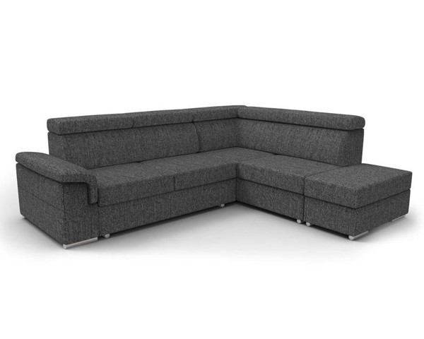 Meble Furniture Conor Charcoal Black Futon Right Arm Facing Sectional Sofa Bed with Pouf Ottoman MBL-CONOR-RAF-BLACK