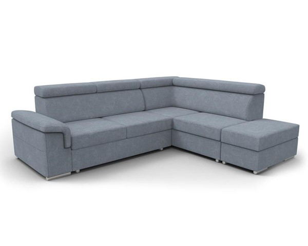Meble Furniture Conor Slate Blue Futon Right Arm Facing Sectional Sofa Bed with Pouf Ottoman MBL-CONOR-RAF-BLUE