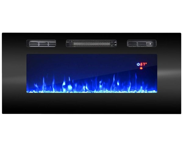 Meble Furniture Black 40 Inch Electric Fireplace Recessed Wall Mounted Heaters MBL-EF1ELECFIRE40-VAR
