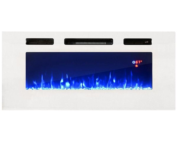 Meble Furniture White 40 Inch Electric Fireplace Recessed Wall Mounted Heater MBL-EF1ELECFIRE40WHITE