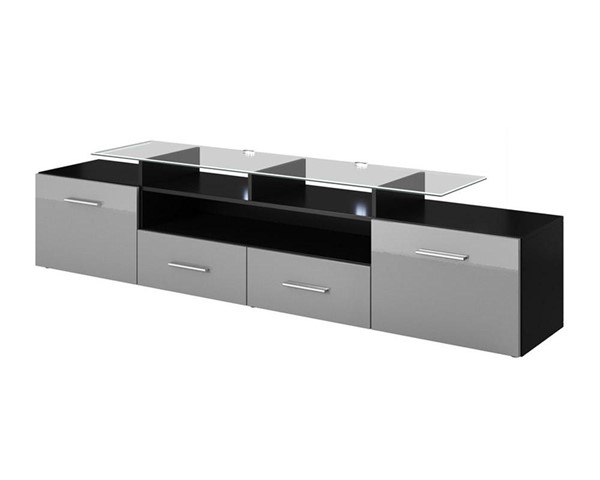 Meble Furniture Evora Black Gray 76 Inch TV Stand MBL-EVORABLACKGRAY
