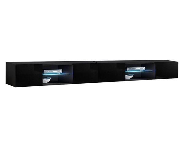 Meble Furniture Fly Type 33 Black Wall Mounted Floating 126 Inch TV Stand MBL-FLY33BLACK2X