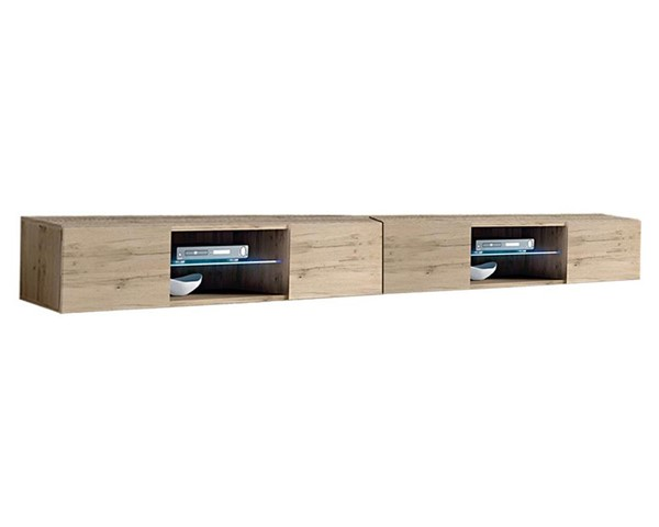 Meble Furniture Fly Type 33 Oak Wall Mounted Floating 126 Inch TV Stand MBL-FLY33OAK2X