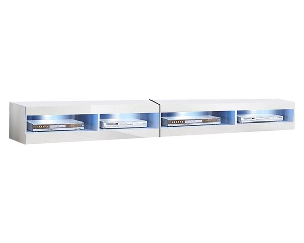 Meble Furniture Fly Type 34 White Wall Mounted Floating 126 Inch TV Stand MBL-FLY34WHITE2X