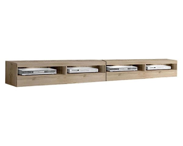 Meble Furniture Fly Type 35 Oak Wall Mounted Floating 126 Inch TV Stand MBL-FLY35OAK2X