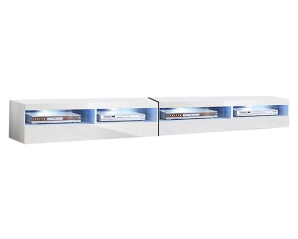 Meble Furniture Fly Type 35 White Wall Mounted Floating 126 Inch TV Stand MBL-FLY35WHITE2X