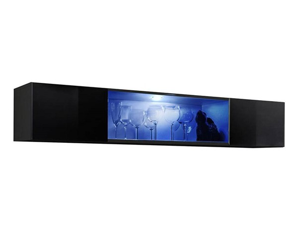 Meble Furniture Fly Type 52 Black Wall Mounted Floating Hanging Media Cabinet MBL-FLY52BLACK