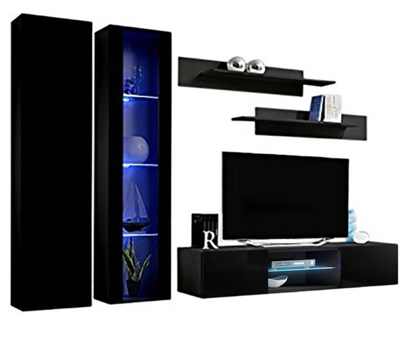 Meble Furniture Fly A 33TV Black Wall Mounted Floating A4 Entertainment Centers MBL-FLYA4-33-ENT-S-VAR