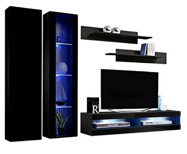 Meble Furniture Fly A 34TV Black Wall Mounted Floating A4 Entertainment Centers MBL-FLYA4-34-ENT-S-VAR