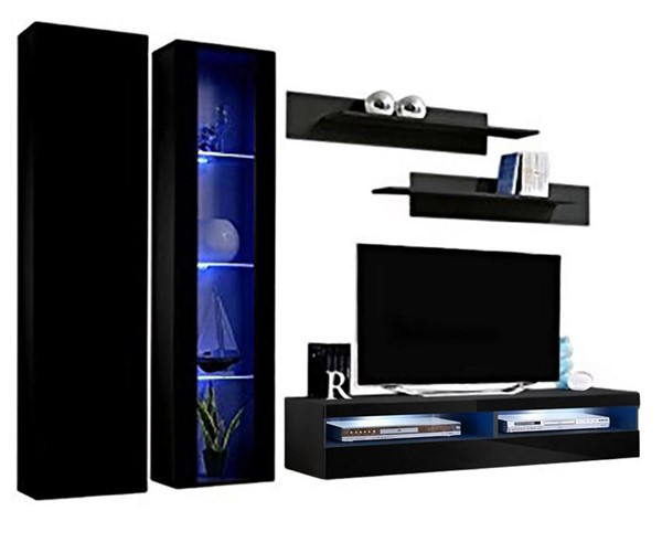 Meble Furniture Fly A 35TV Black Wall Mounted Floating A4 Entertainment Centers MBL-FLYA4-35-ENT-S-VAR
