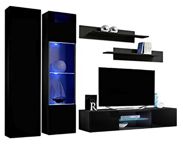 Meble Furniture Fly A 33TV Black Wall Mounted Floating A5 Entertainment Centers MBL-FLYA5-33-ENT-S-VAR
