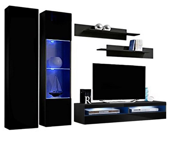 Meble Furniture Fly A 35TV Black Wall Mounted Floating A5 Entertainment Centers MBL-FLYA5-35-ENT-S-VAR