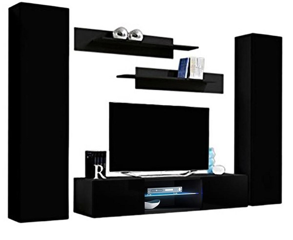 Meble Furniture Fly A 33TV Black Wall Mounted Floating AB1 Entertainment Centers MBL-FLYAB1-33-ENT-S-VAR