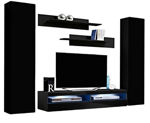Meble Furniture Fly A 35TV Black Wall Mounted Floating AB1 Entertainment Centers MBL-FLYAB1-35-ENT-S-VAR
