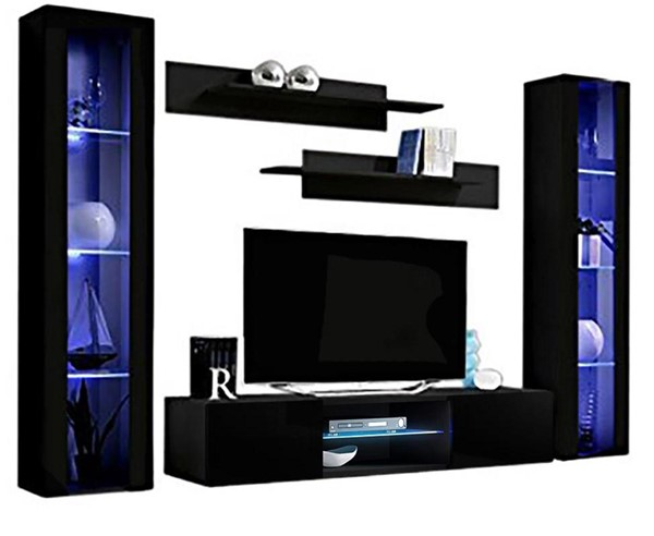 Meble Furniture Fly A 33TV Black Wall Mounted Floating AB2 Entertainment Centers MBL-FLYAB2-33-ENT-S-VAR